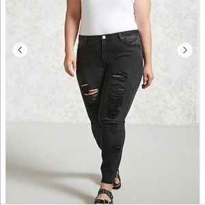 Plus Size Black Distressed Jeans